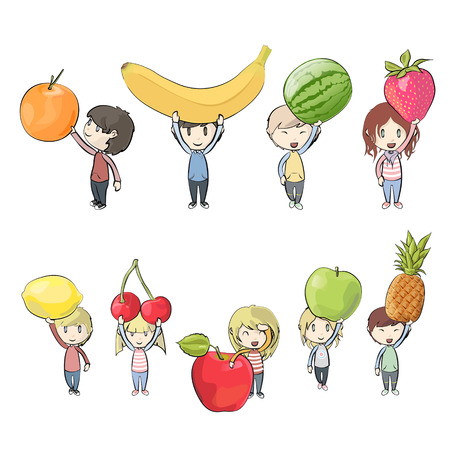 diet cartoon: Kids holding fruits. Vector design