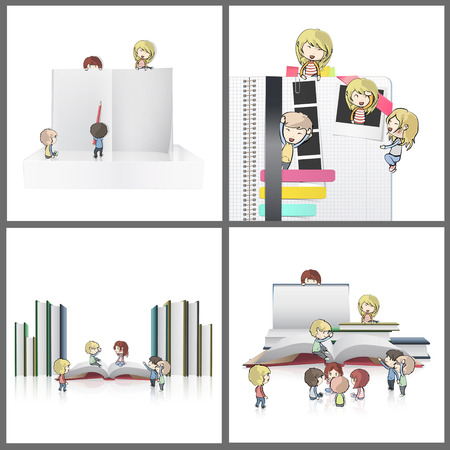 Collection of kids around empty books. Vector design  Vector