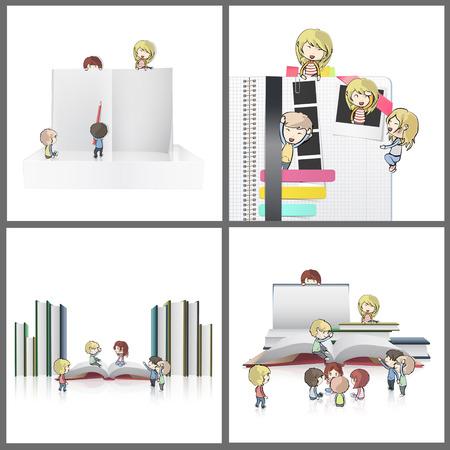 Collection of kids around empty books. Vector design Stock Vector - 22296597