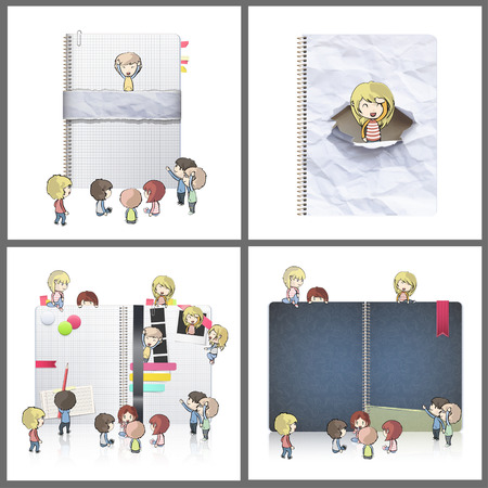 Set of several kids around notebooks. Vector design.