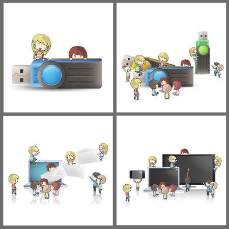 Set of kids technological elements. Vector design. Stock Vector - 22296610