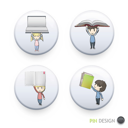 Kids holding books printed on button. Vector design Stock Vector - 22296636