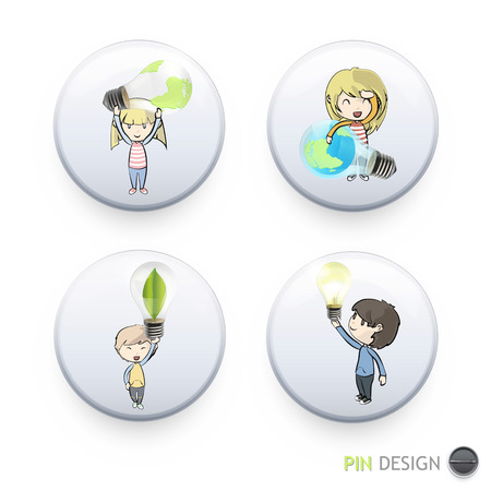 Kids holding eco light bulbs printed on button. Vector design Vector