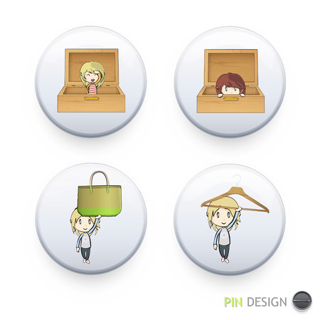 Cute kids printed on button. Vector design Vector