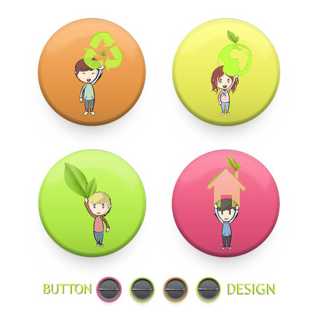 Kids holding ecological icons printed on colorful button. Vector design Stock Vector - 22296691