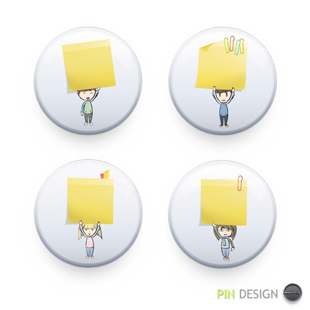 posit: Group of kids holding yellow paper printed on button. Vector design