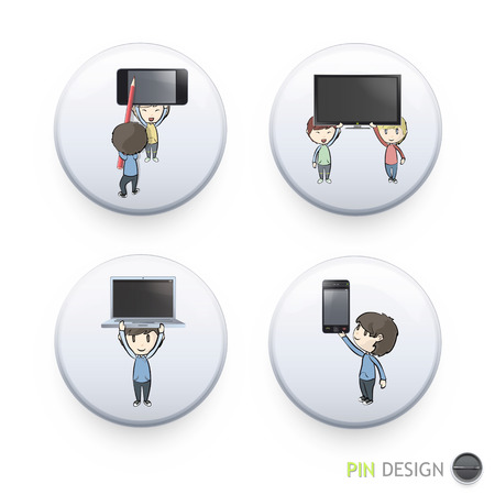 Kids holding PC, phone and TV printed on button. Vector design Vector