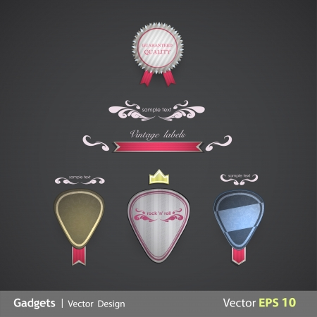 Collection of paper element designs. Vector illustration.  Vector