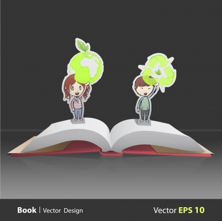 Kids holding ecological icons inside pop-up book. Vector design Stock Vector - 22296729