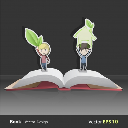 Kids holding ecological icons inside pop-up book. Vector design  Vector