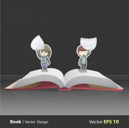 Kids holding eggs inside popup book Stock Vector - 22394384