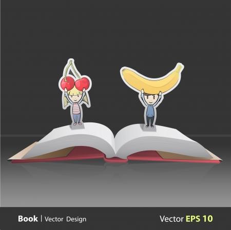banana sheet: Kids holding fruits inside pop-up book. Vector design
