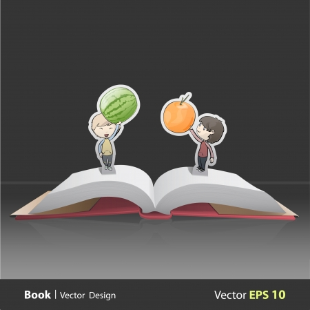 Kids holding fruits inside pop-up book. Vector design  Stock Vector - 22296731