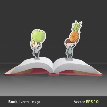 Kids holding fruits inside pop-up book. Vector design  Stock Vector - 22296736