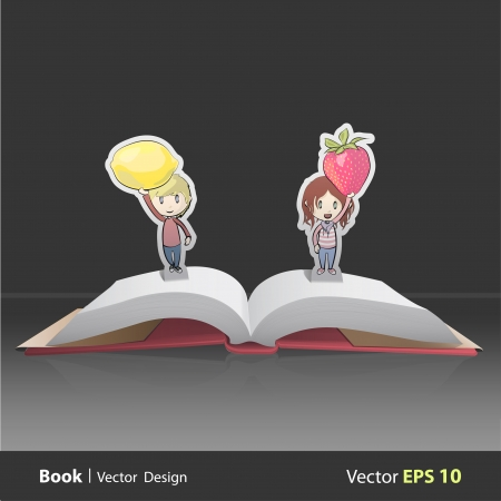 popup: Kids holding fruits inside pop-up book. Vector design