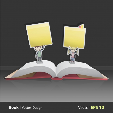 posit: Group of kids holding yellow stick inside pop-up book. Vector design