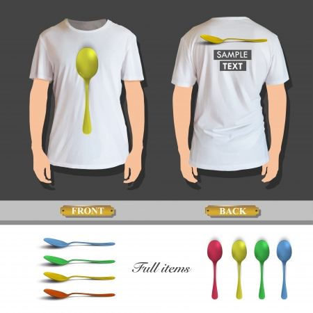 Collection of colorful spoons printed on white shirt. Vector design.  Vector