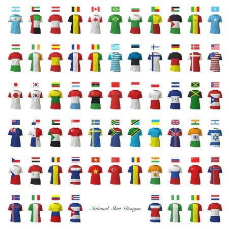 Colecci�n de dise�o de camiseta nacional