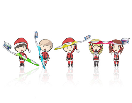 child of school age: Kids with Santa Claus costume holding toothbrush  Vector design