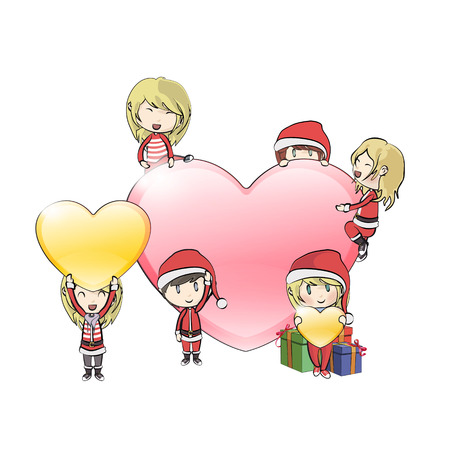 Kids with Santa Claus costume around big heart  Vector design  Stock Vector - 22394397