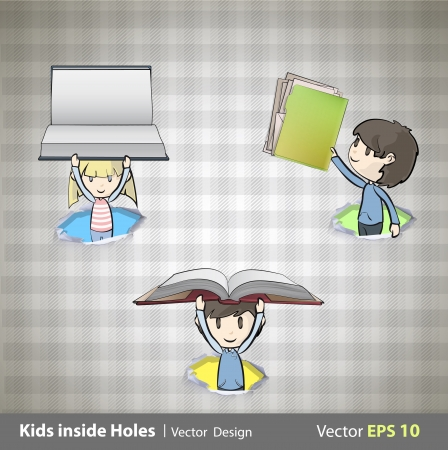 Kids holding books inside hole papers illustration Stock Vector - 22421667