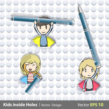 blue pen: Kids holding blue pen inside hole papers illustration