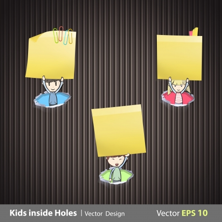 posit: Group of kids holding yellow paper inside hole papers illustration