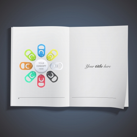 Set of colorful ring of can printed on white book. Vector design Stock Vector - 22421792