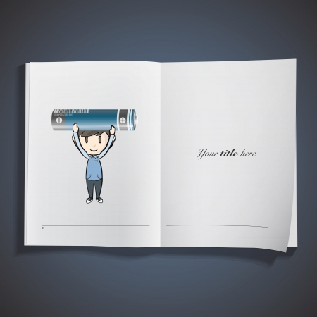 Kid holding a realistic battery printed on book. Vector design Vector