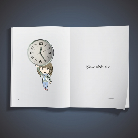 Girl holding a vice watch printed on book. Vector design Stock Vector - 22749293