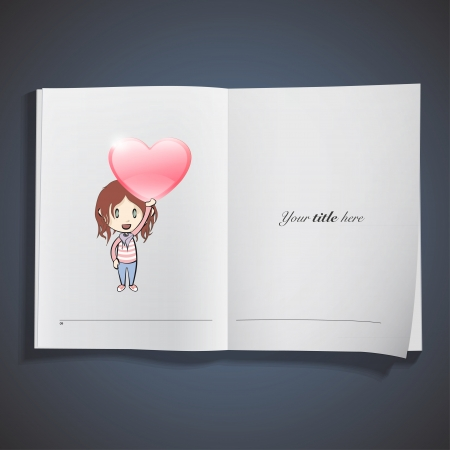 Kid holding a red heart printed on book. Vector design Stock Vector - 22749294