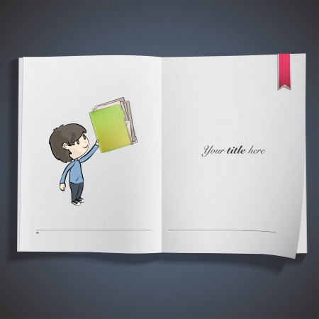 Kid holding green folder printed on book. Vector design Stock Vector - 22749297