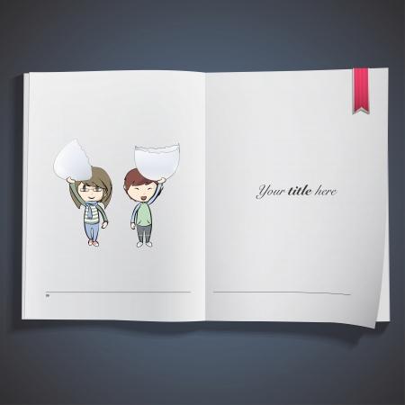 Kids holding a broken egg printed on book. Vector design Stock Vector - 22749299