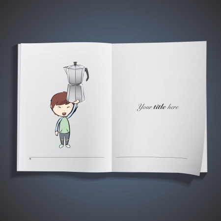 Kid holding a coffee pot printed on book. Vector design Stock Vector - 22749302