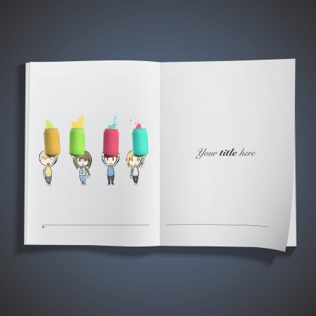 Kids holding colorful cans printed on book. Vector design Stock Vector - 22749303