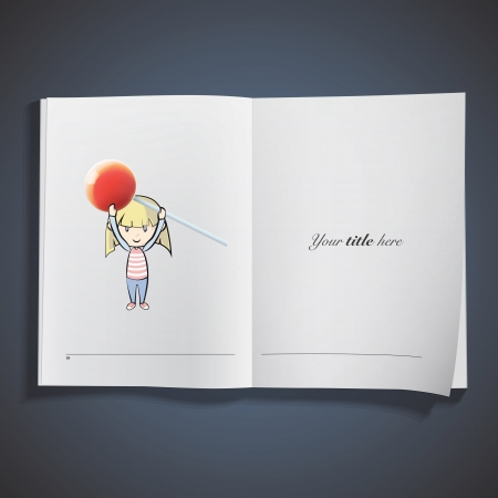 Girl holding a red lollipop printed on book. Vector design Stock Vector - 22749304