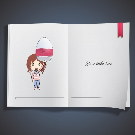 Girl holding an easter egg printed on book. Vector design Stock Vector - 22749306