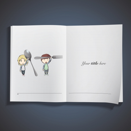 Kid holding a fork printed on book. Vector design Stock Vector - 22749307