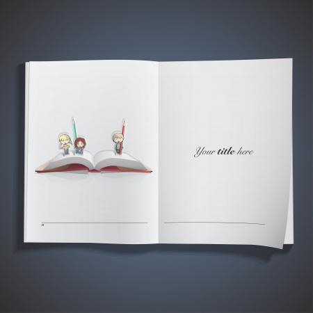 pop up: Pop-up met kinderen gedrukt op boek. Vector design