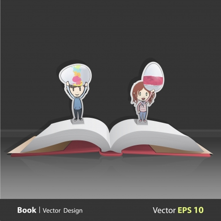Kids holding eggs inside pop-up book. Vector design Stock Vector - 22749312