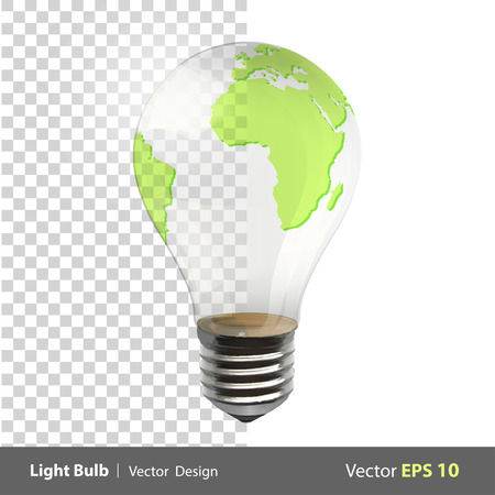 Eco light bulb with a world inside  Vector design   Vector