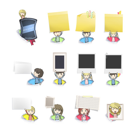 posit: Group of kids holding cards inside holes  Vector design  Illustration