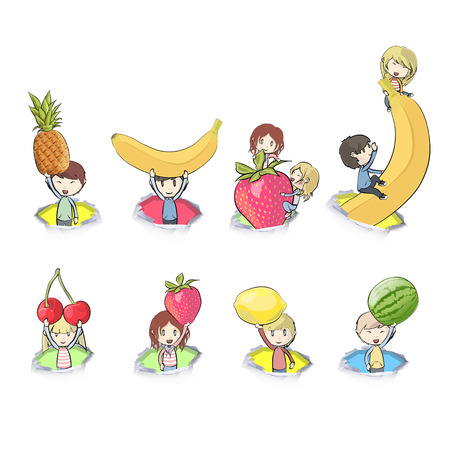 Kids holding fruits  Vector design  Vector