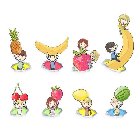 banana sheet: Kids holding fruits  Vector design  Illustration