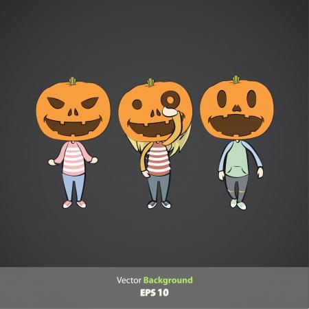 Kids with pumpkins  Vector design   Vector