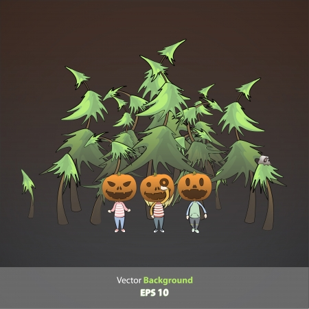 Kids with pumpkin inside forest  Vector design   Vector