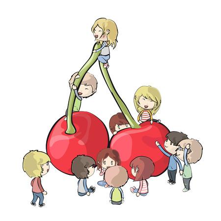 Kids around cherry  Vector design  Vector
