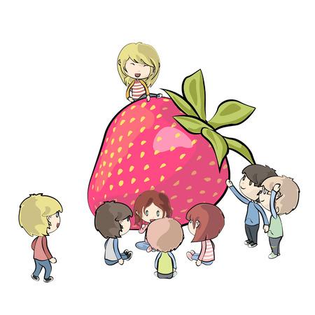 rinfreschi: Bambini intorno strawberry design Vector