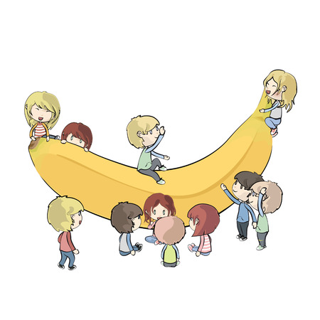 Kid holding banana  Vector design  Vector