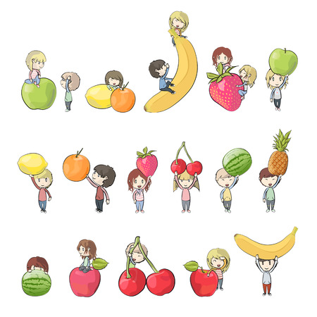 kids holding several fruits  Vector design  Vector